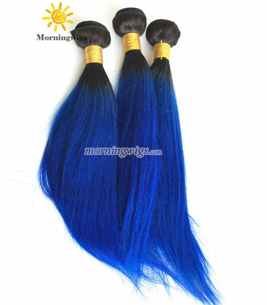 "22"" black ombre blue straight Brazilian human hair wefts - Luckin Wigs"