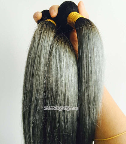 black ombre dark silver straight Indian human hair wefts - Luckin Wigs