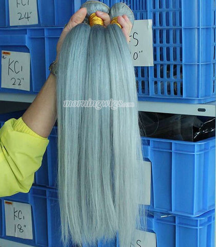 green straight Mongolian human hair wefts for sex women - Luckin Wigs