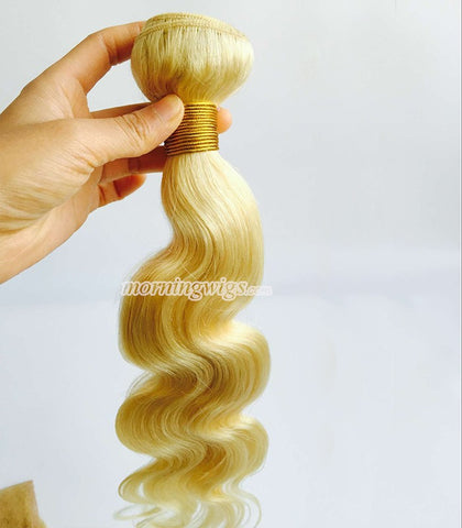 body wave Brazilian human blonde hair extension #613 - Luckin Wigs