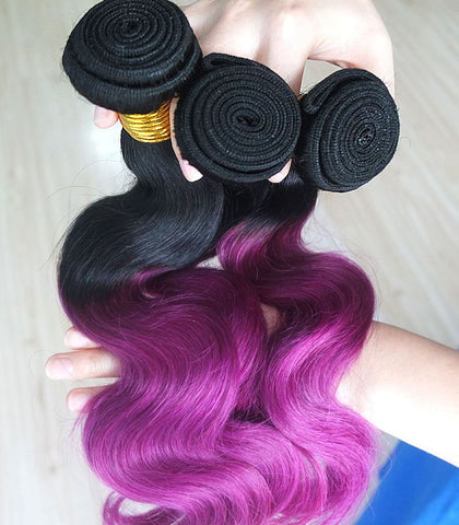black ombre purple body wave human hair extension - Luckin Wigs