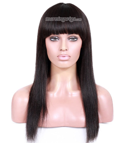 22 inches natural color straight lace front human hair wigs with bang - Luckin Wigs