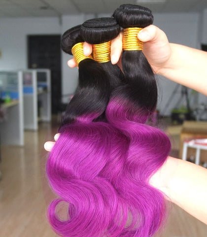black-purple wave Mongolian human hair bundles - Luckin Wigs