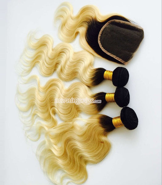 16inches black ombre blonde hair weft with closure - Luckin Wigs