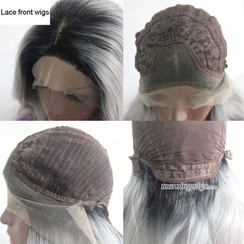 Synthetic Lace Front Gray Cosplay Wig For Women - Luckin Wigs