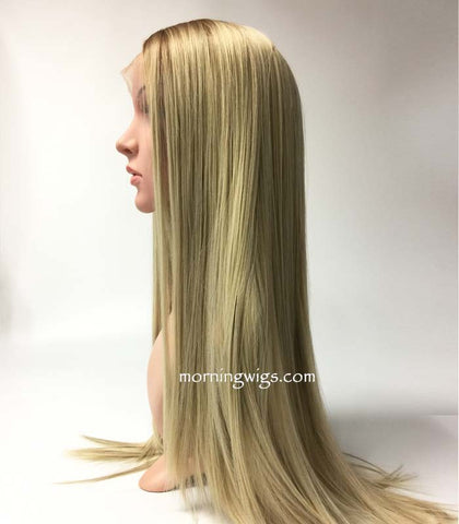 long dark root blond straight lace front synthetic wigs for women - Luckin Wigs