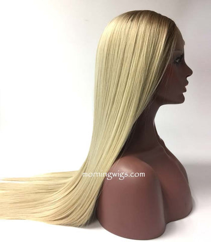 20 inches dark root blond straight lace front synthetic wigs for black women - Luckin Wigs
