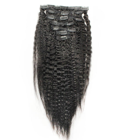 16 inches Kinky Straight  1B clips in hair extensions 8 Pieces/Set Full Head Sets 100G - Luckin Wigs