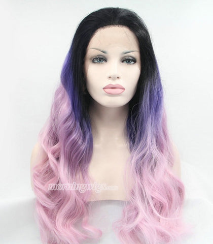 22inches black-purple-pink wave synthetic hair wigs - Luckin Wigs