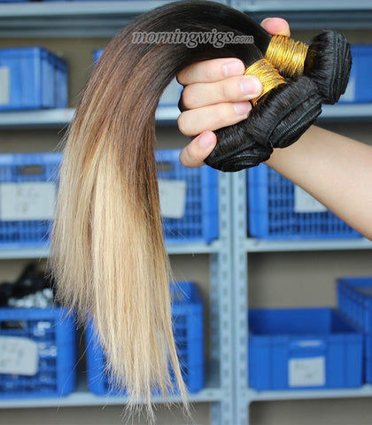 18 inches black ombre brown straight human hair extension - Luckin Wigs