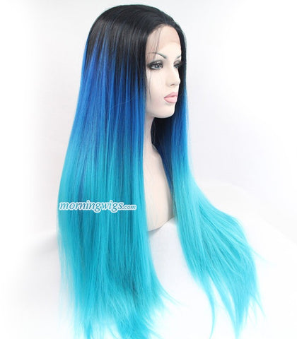 22 inches black ombre blue straight hair wigs - Luckin Wigs