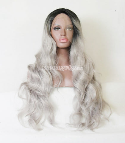 20 inches black grey body wave syntheitc hair wigs - Luckin Wigs