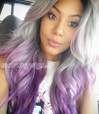 22 inches white ombre purple body wave lace front synthetic wigs - Luckin Wigs