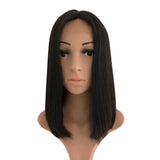 12 inches Natural Black Bob Style Human Hair Lace Wigs Straight Wig 150% density - Luckin Wigs