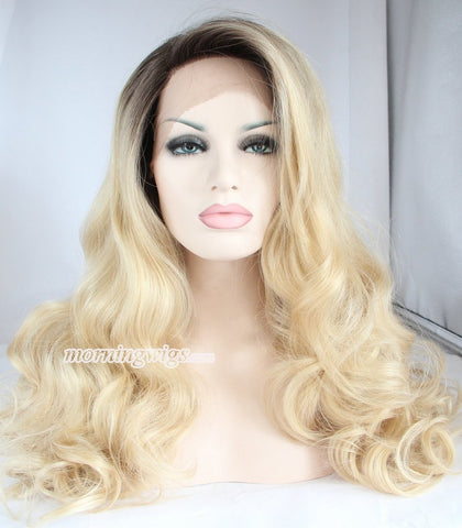 20 inches black ombre light brown body wave lace front wigs - Luckin Wigs