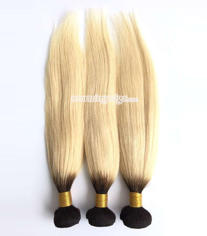 Mongolian hair black ombre 613 straight  wefts - Luckin Wigs