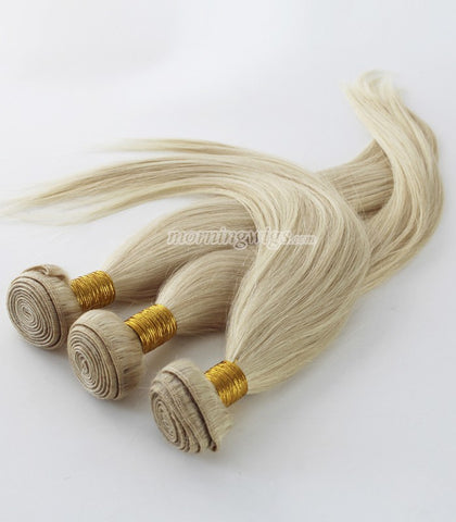 16 inch straight light blond human hair bundles - Luckin Wigs