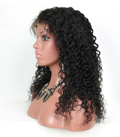 18 inch black kinky curly 100% human hair wigs pre-plucked hairline 150% density - Luckin Wigs