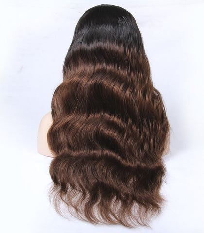 22 inch black ombre 4# wave Peruvian human hair wigs Density 150% - Luckin Wigs