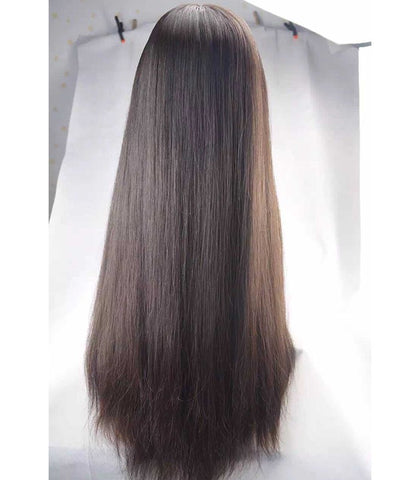 24 inch black straight human hair lace wigs pre-plucked hairline 150% density - Luckin Wigs