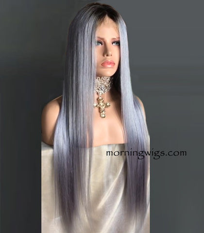 24 inches dark root grey straight 150% density human hair wigs - Luckin Wigs