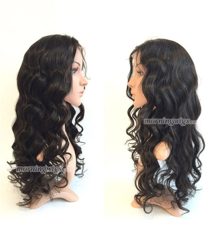 "100% Brizilian Virgin Human Hair Full Lace Wigs Natural Black 22"" Body Wave - Luckin Wigs"