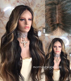 24 Inches body wave Black Mix Blonde Color Virgin Human Hair HD Lace Wigs 150% density - Luckin Wigs