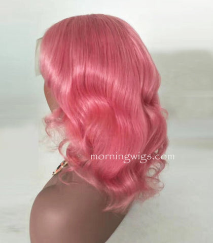14 inches body wave pink lace front virgin human hair wigs - Luckin Wigs