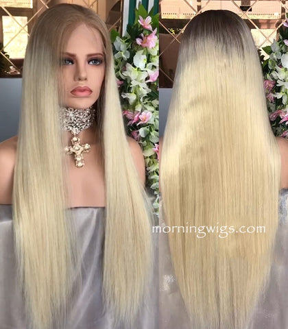 24 inches dark root ombre 613 remy human hair wigs - Luckin Wigs