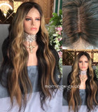 24 inches mink blond mix black straight 100% Brazilian human hair wigs - Luckin Wigs