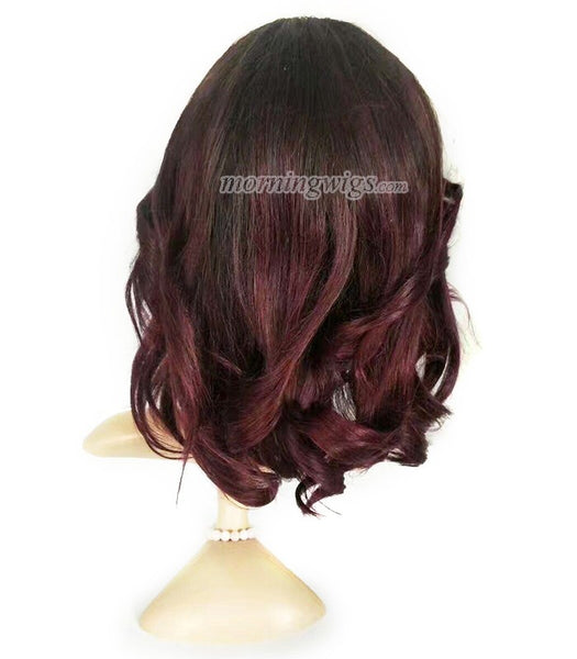 16 inches dark root  99J natural wave human hair wigs pre-plucked hairline 150% density - Luckin Wigs