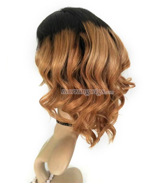 16 inches dark root light brown body wave virgin human hair lace wigs pre-plucked hairline 150% density - Luckin Wigs