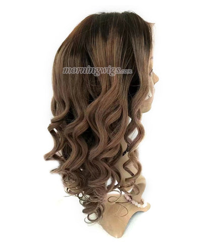 18 inches dark root brown virgin human hair wigs - Luckin Wigs