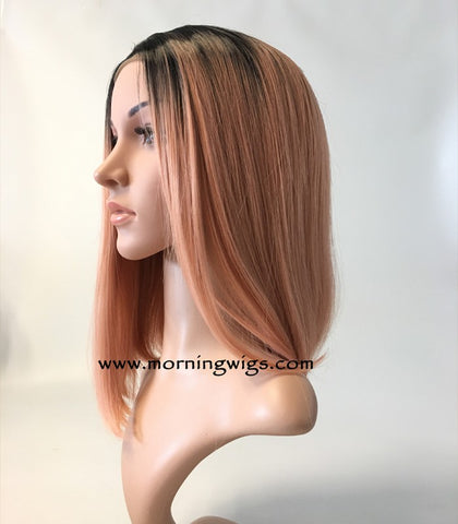 dark root pink ombre fashion synthetic lace front wigs - Luckin Wigs