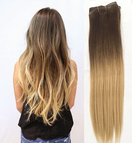 20 inches black ombre blonde human hair extensions - Luckin Wigs