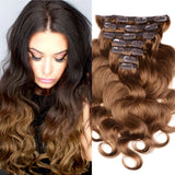 18 inches brown body wave clips in human hair extensions - Luckin Wigs