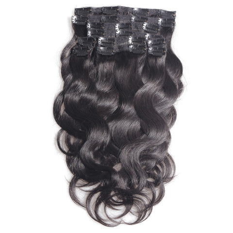 14 inches black body wave virgin human hair clip in hair extension - Luckin Wigs