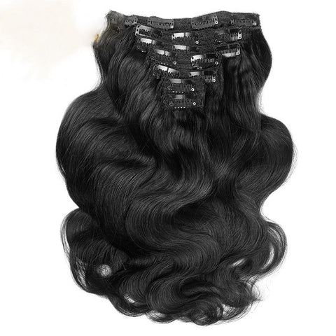 16 inches black body wave clips in human hair extensions 8 Pieces/Set Full Head Sets 100G - Luckin Wigs