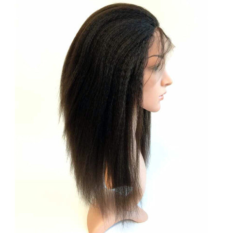 "Soft Remy Human Hair 1B 16"" Glueless Full Lace With Silk Top Yaki Wigs - Luckin Wigs"