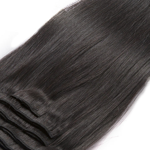 16 inches black straight clips in human hair extensions Natural Color 8 Pieces/Set Full Head Sets 100G - Luckin Wigs
