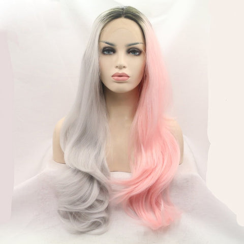 22 inches dark root grey ombre pink natural wave sythetic hair wigs - Luckin Wigs