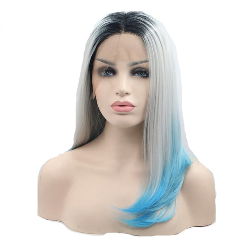 16 inches dark root grey blue ombre synthetic lace front wigs - Luckin Wigs