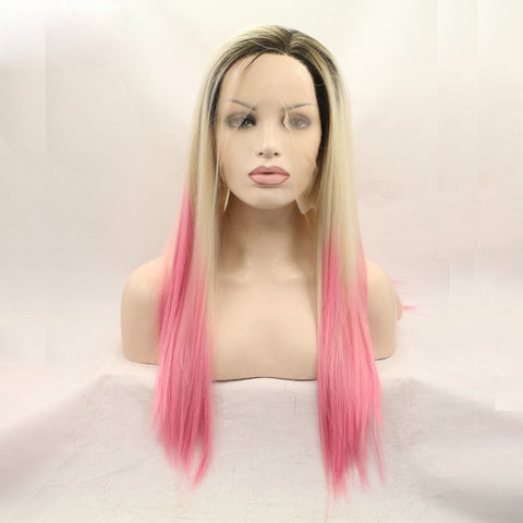 22 inches dark root blond ombre pink syntheitc hair wigs - Luckin Wigs