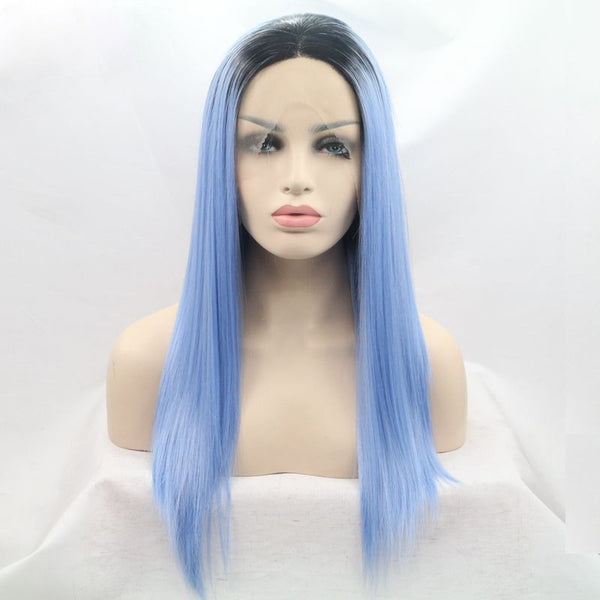 18 incches blue synthetic natural straight lace front wigs - Luckin Wigs