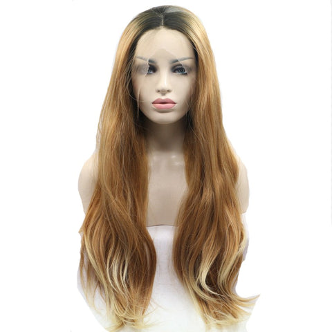 24 inches dark root brown synthetic natural wave lace front wigs - Luckin Wigs