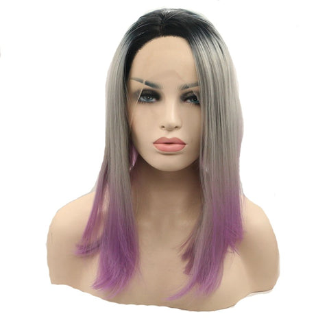 16 inches dark root grey  pink synthetic straight lace front wigs - Luckin Wigs