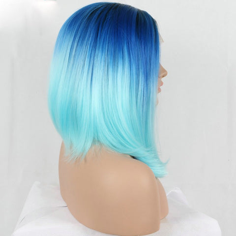 16 inches ombre blue synthetic lace front hair wigs - Luckin Wigs
