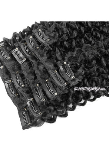 Kinky Curly  color 1B clips in hair extensions - Luckin Wigs
