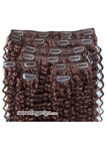22 inches kinky curly dark brown clips in hair bundles - Luckin Wigs