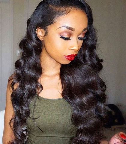 20 inches fake scalp lace wigs black body wave satin human hair wigs for great women - Luckin Wigs